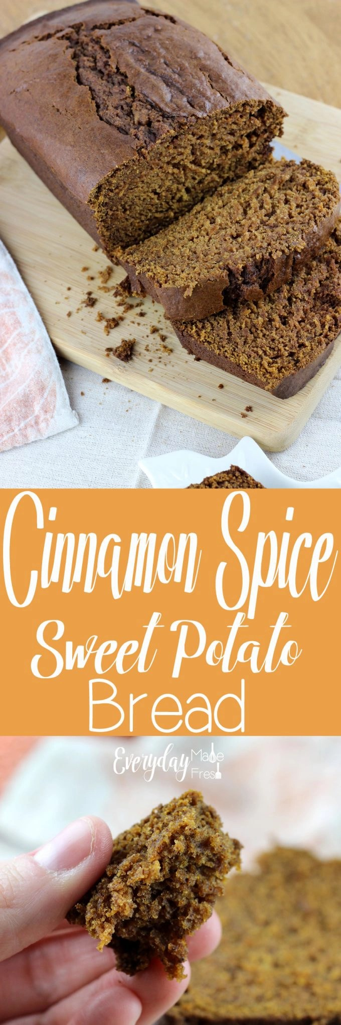 Who says sweet potatoes are for baking and casseroles only? This Cinnamon and Spice Sweet Potato Bread will prove otherwise. Moist, spicy, sweet, and delicious! | EverydayMadeFresh.com