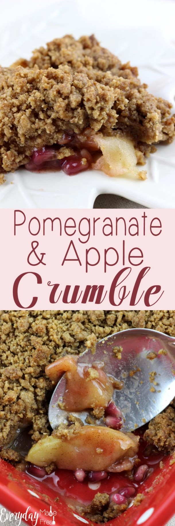 This Pomegranate & Apple Crumble is sweet, tart, and spiced with cinnamon. The topping is a crunchy crumble with all the warm winter spices that  you know and love. | EverydayMadeFresh.com