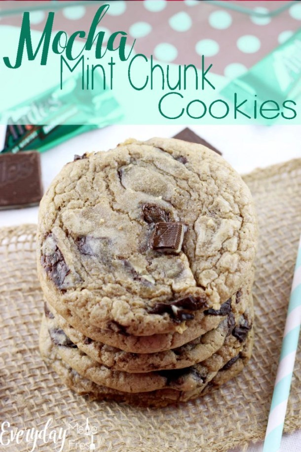 Hints of coffee, chunks of chocolate mint candies, and a chewy texture that will have you coming back for more. These Mocha Mint Chocolate Chunk Cookies are one of my personal favorites! | EverydayMadeFresh.com
