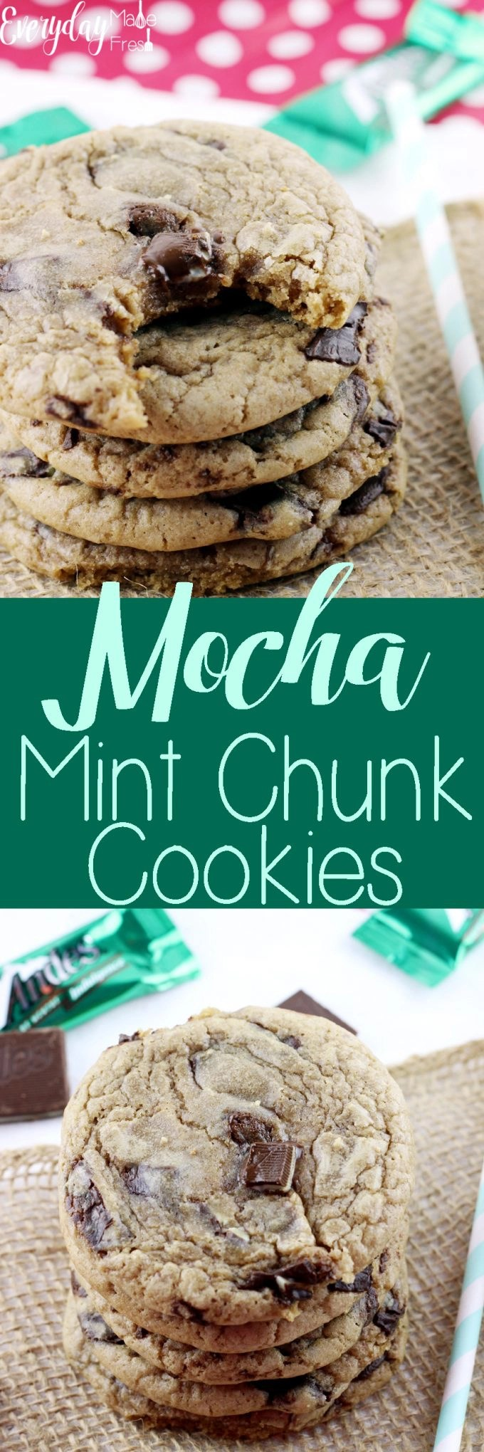Hints of coffee, chunks of chocolate mint candies, and a chewy texture that will have you coming back for more. These Mocha Mint Chocolate Chunk Cookies are one of my personal favorites!   EverydayMadeFresh.com