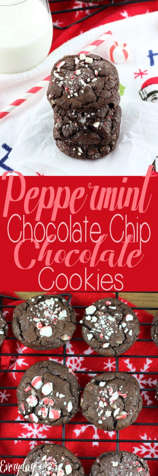 Double the chocolate in these Peppermint Chocolate Chip Chocolate Cookies. Made with soft peppermints, and chocolate on chocolate, these are for the serious mint chocolate lovers! | EverydayMadeFresh.com