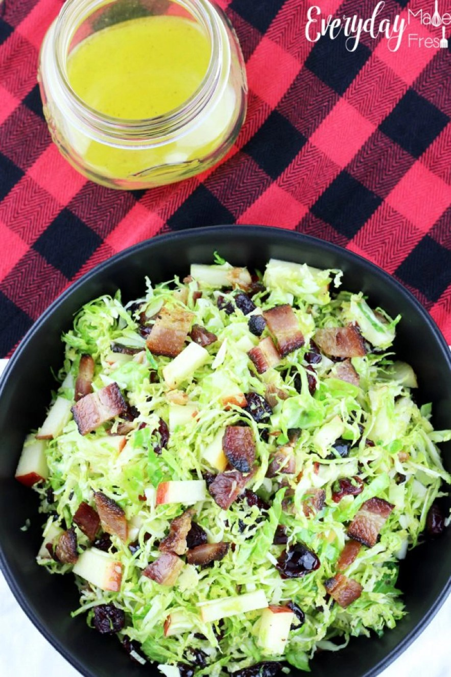If you've never eaten sprouts fresh, you don't know what you're missing out on! You've got to give this simple recipe for Brussels Sprouts Salad with Apple, Bacon, Cranberries & a Citrus Dressing a try. Fresh, sweet, and tangy it's the perfect healthy side!   EverydayMadeFresh.com