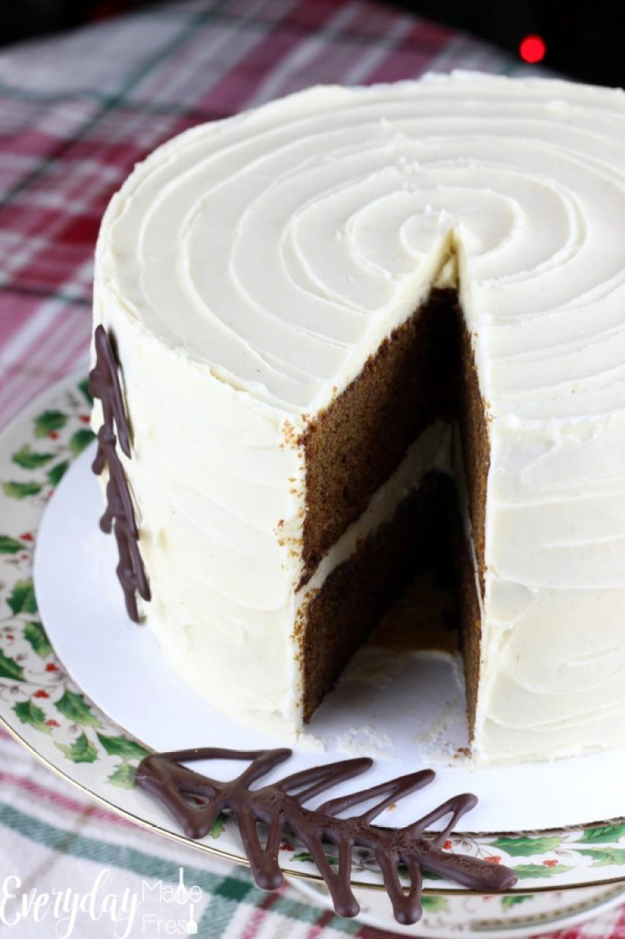 The dessert that should be on your holiday table this year is this Gingerbread Cake with Maple Cream Cheese Frosting. With flavors of ginger, cinnamon, maple, and cream cheese this cake has Christmas written all over it. It's the dessert your guests will be talking about next year!   EverydayMadeFresh.com