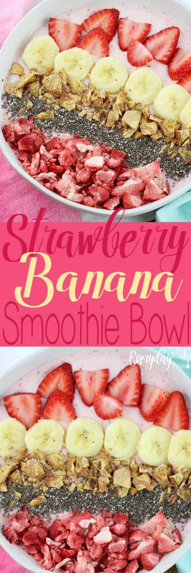 This Strawberry Banana Smoothie Bowl is easy to toss together, and tastes amazing! Totally filling, and topped with all the things you want to crunch on! | EverydayMadeFresh.com