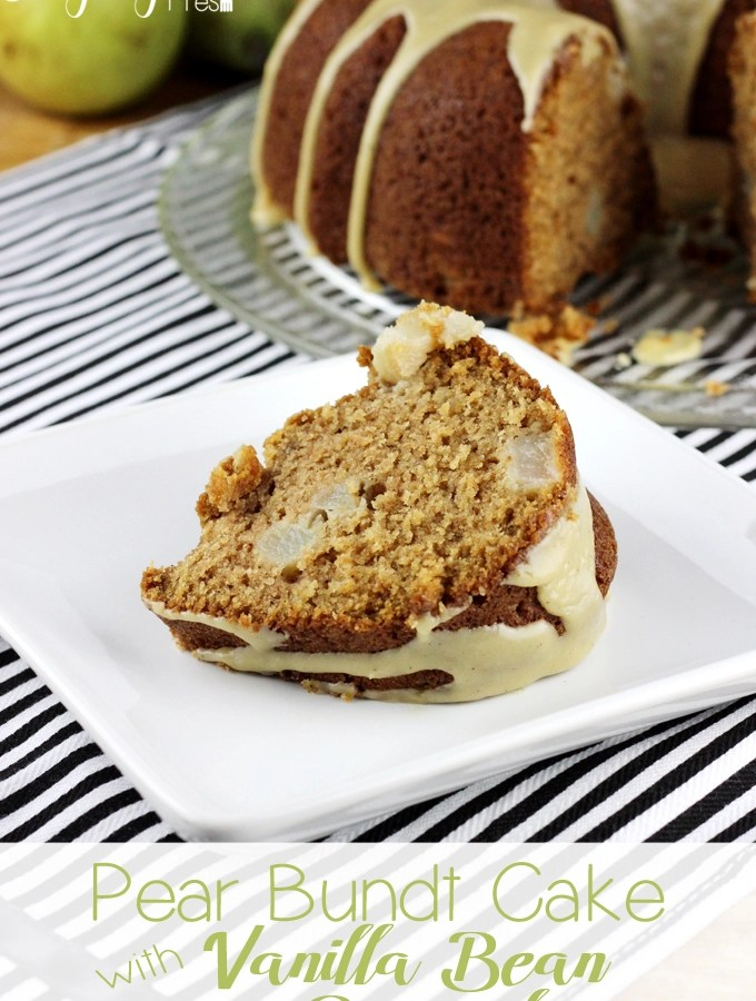 This Pear Bundt Cake with Vanilla Bean Caramel is loaded with fresh chunks of pear, spiced with cinnamon and ginger, and then drizzled with the best topping! This cake is so simple to make and perfect for all occasions.   EverydayMadeFresh.com