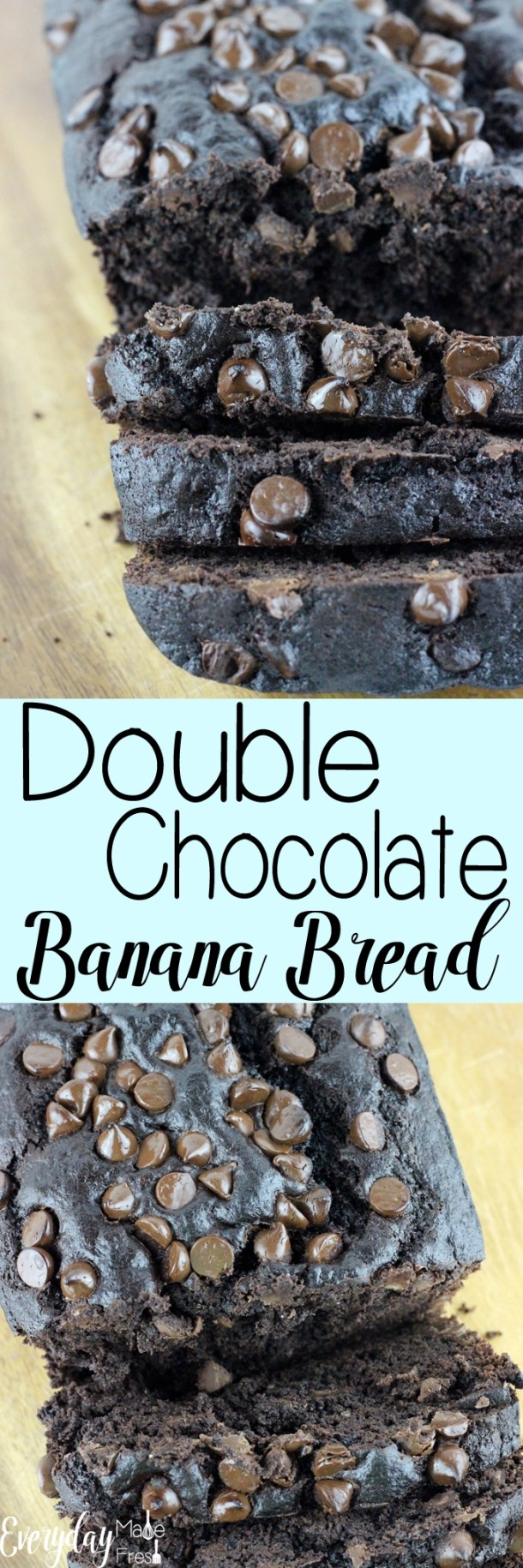 Chocolate chips and cocoa powder make this Double Chocolate Banana Bread so rich and tasty! You're going to love how easy it is to make too; only one bowl! | EverydayMadeFresh.com