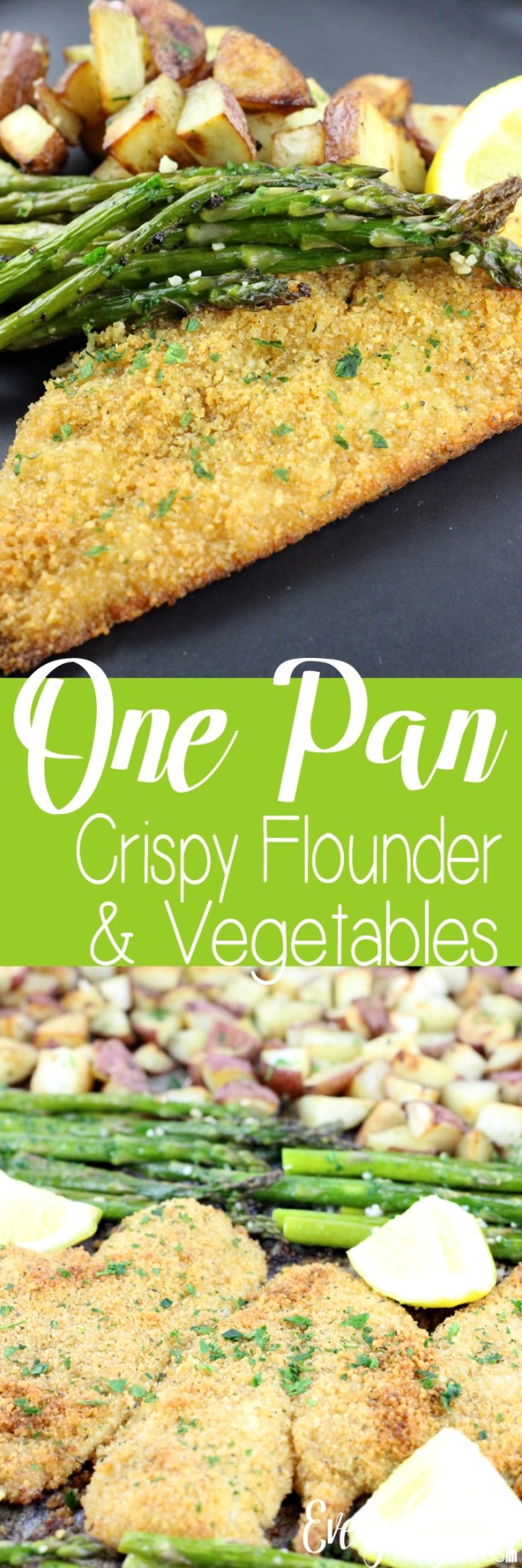 Quick, easy, and all made on a single pan. This One Pan Crispy Flounder & Vegetables is a perfect dish any night of the week. | EverydayMadeFresh.com