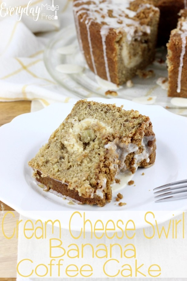 This moist Cream Cheese Swirl Banana Coffee Cake is the perfect way to use up those over ripe bananas. It's topped with a buttery streusel and drizzled with very vanilla drizzle.   EverydayMadeFresh.com