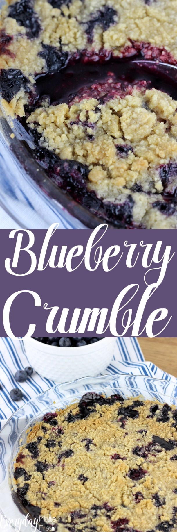 This sweet & simple Blueberry Crumble is the perfect treat for those summer blueberries. It's loaded with fresh blueberries and topped with an irresistible crunchy topping. | EverydayMadeFresh.com