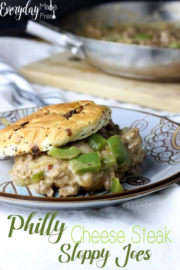 Philly Cheese Steaks and Sloppy Joes come together in this one pan dish to create your next family favorite, Philly Cheese Steak Sloppy Joes!   EverydayMadeFresh.com