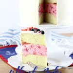 Completely homemade, very simple, and totally beautiful, this 4th of July Strawberry Ice Cream Cake is creamy, dreamy, and perfect! | EverydayMadeFresh.com