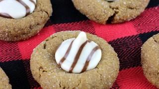 White Chocolate Gingerbread Kiss Cookies
