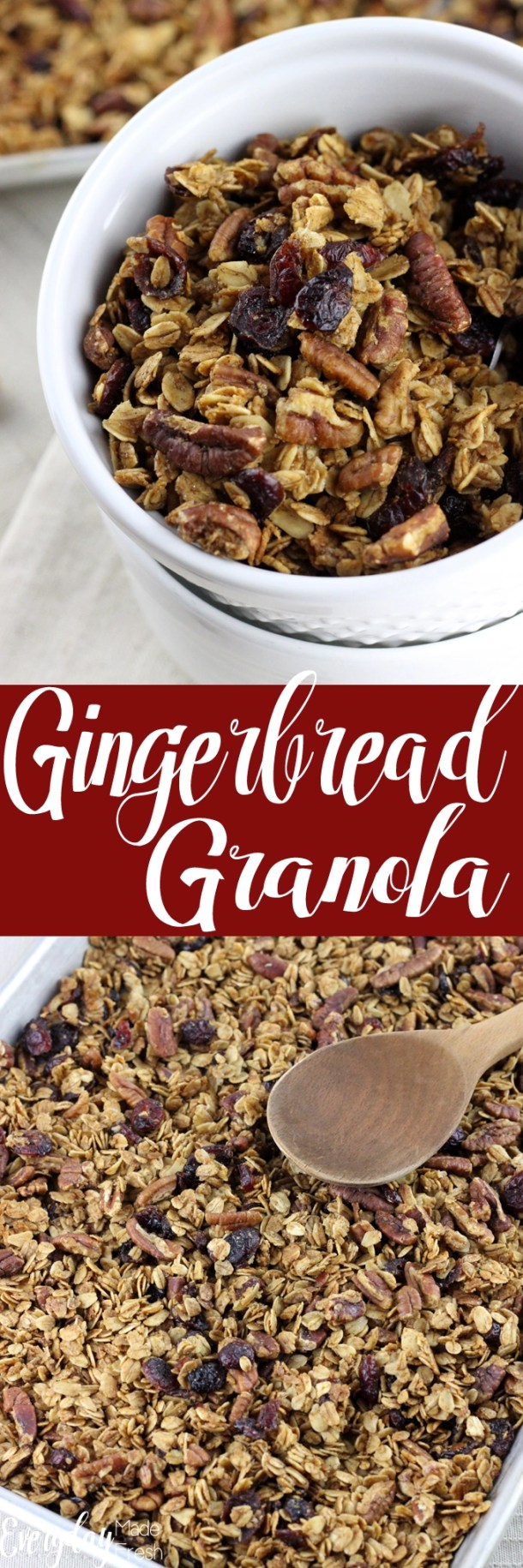 Sweetened with Maple Syrup, this granola spiced with gingerbread spices, makes for the perfect winter breakfast. This Gingerbread Granola will quickly become one of your winter favorites!