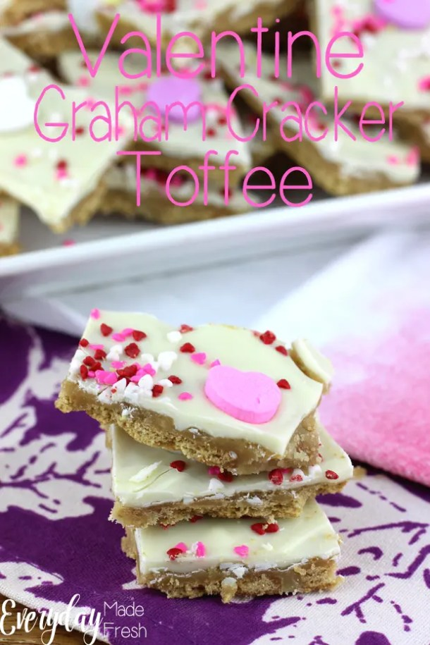 Sweet, crunchy, and irresistible - this Valentine Graham Cracker Toffee is a great sweet treat to keep for yourself or pass on to friends. | EverydayMadeFresh.com