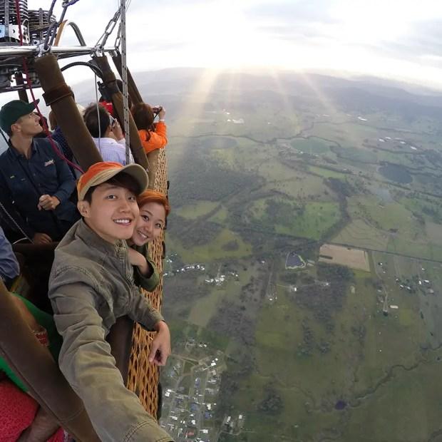 On the hot air balloon in Gold Coast, Australia