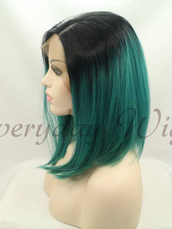 14 BlackGreen Ombre Bob Style Synthetic Lace Front Wig