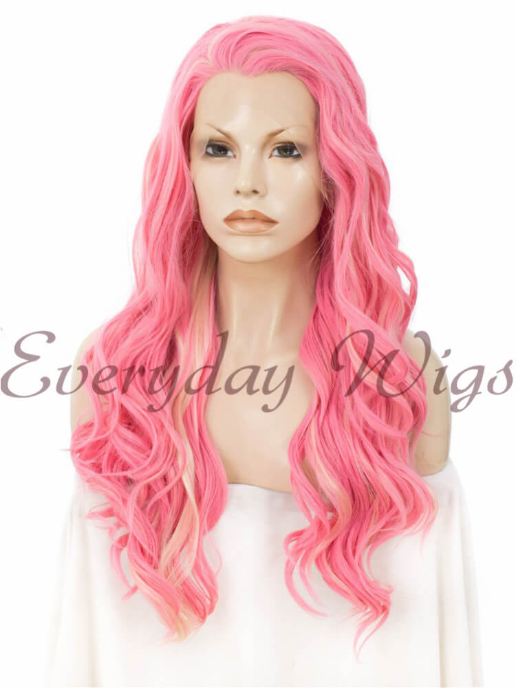 24 Highlight Color Long Wavy Synthetic Lace Front Wig Edw157