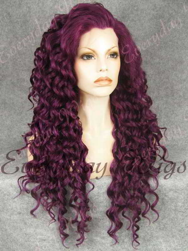 24 Purple Long Curly Synthetic Lace Front Wig Edw299