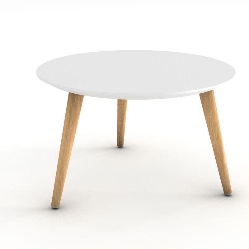 table basse marit plateau rond laque blanc 3 pieds bois naturel