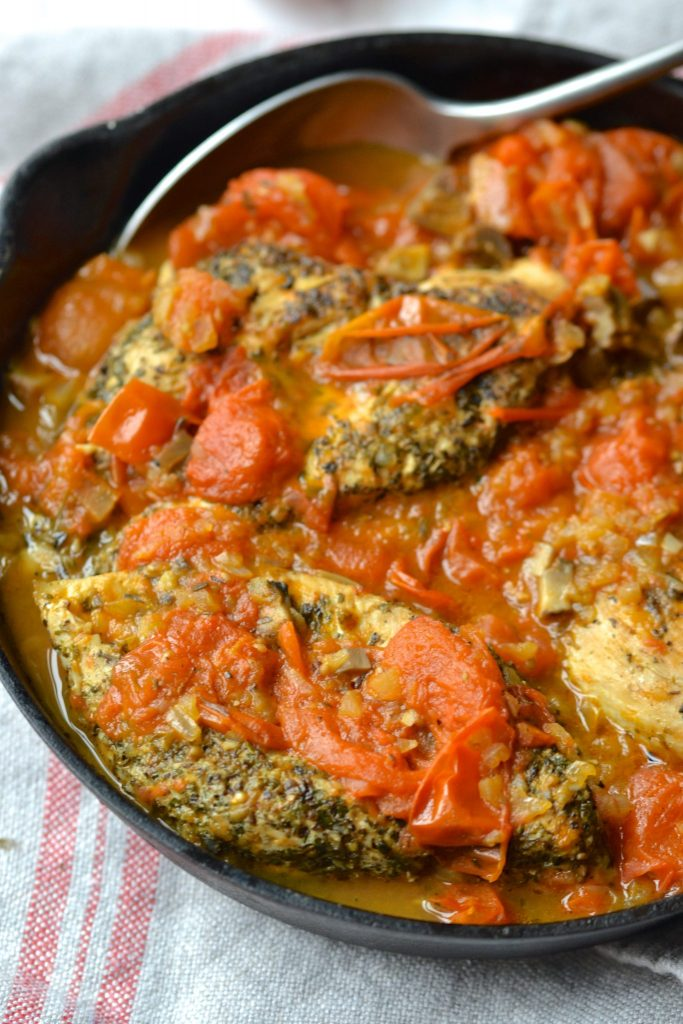 One Skillet Chicken with Mushrooms & Tomatoes