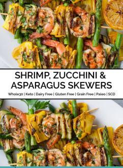 Shrimp, Zucchini & Asparagus Skewers