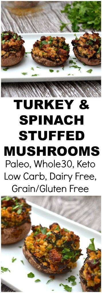 Paleo Turkey Stuffed Mushrooms
