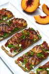Grilled Peach, Prosciutto and Cashew Ricotta Flatbread