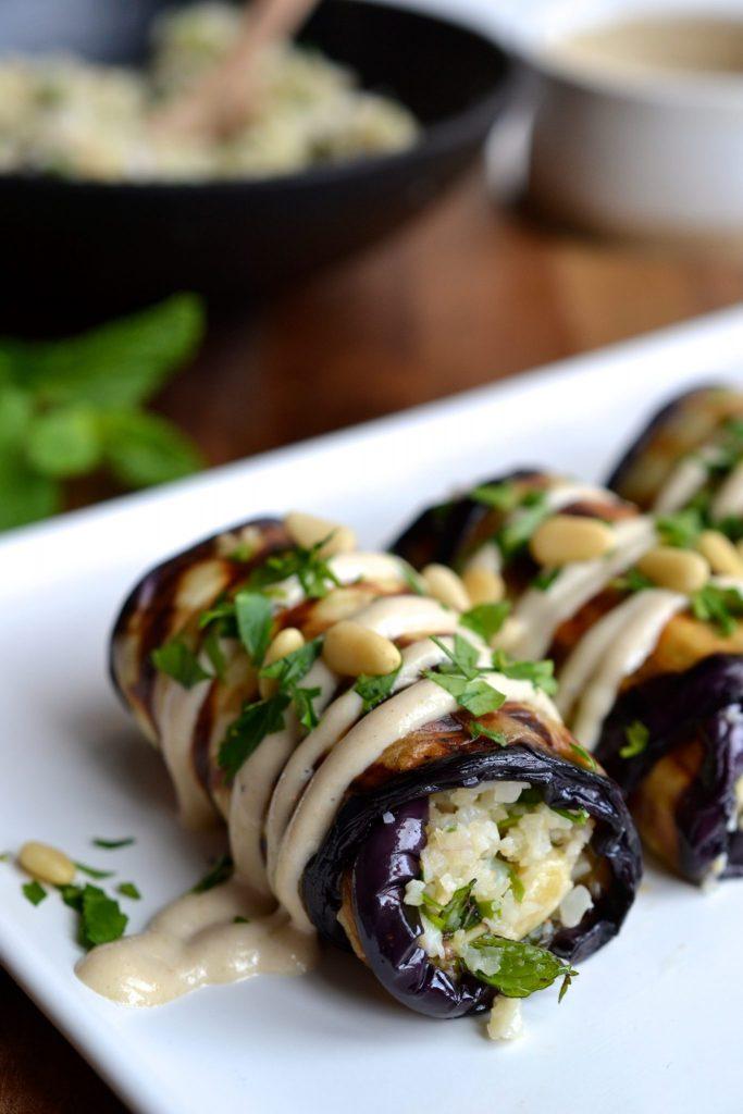 Herby Rice Stuffed Eggplant Rolls