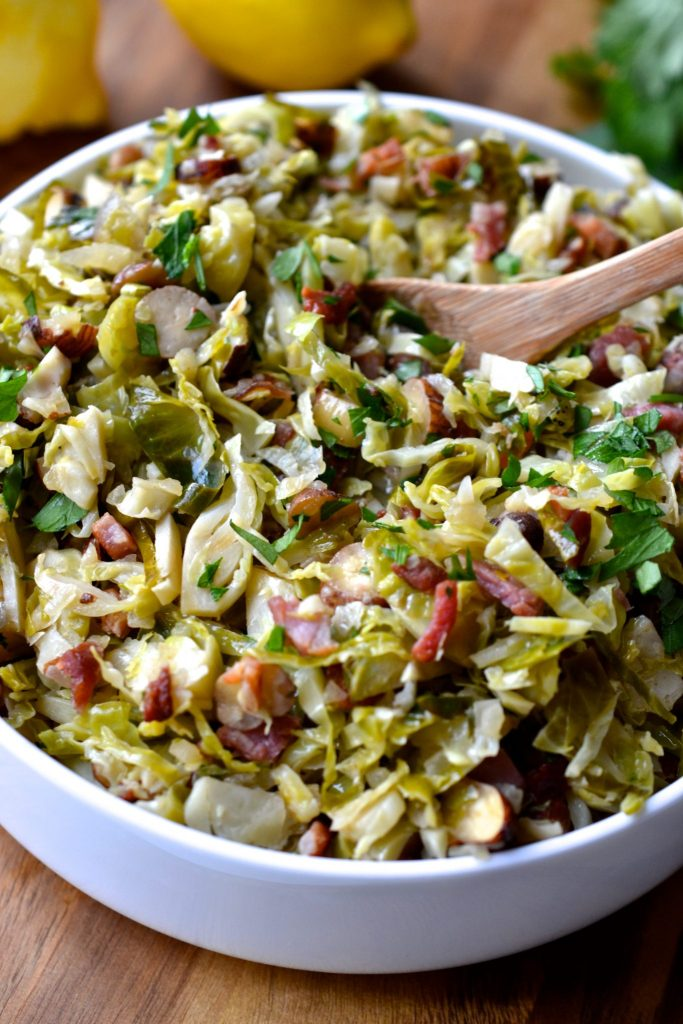 Shaved Brussels Sprouts with Bacon, Hazelnuts & Lemon