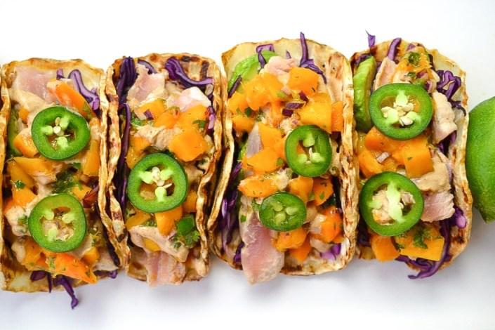Seared Tuna Tacos with Mango Jalapeno Salsa