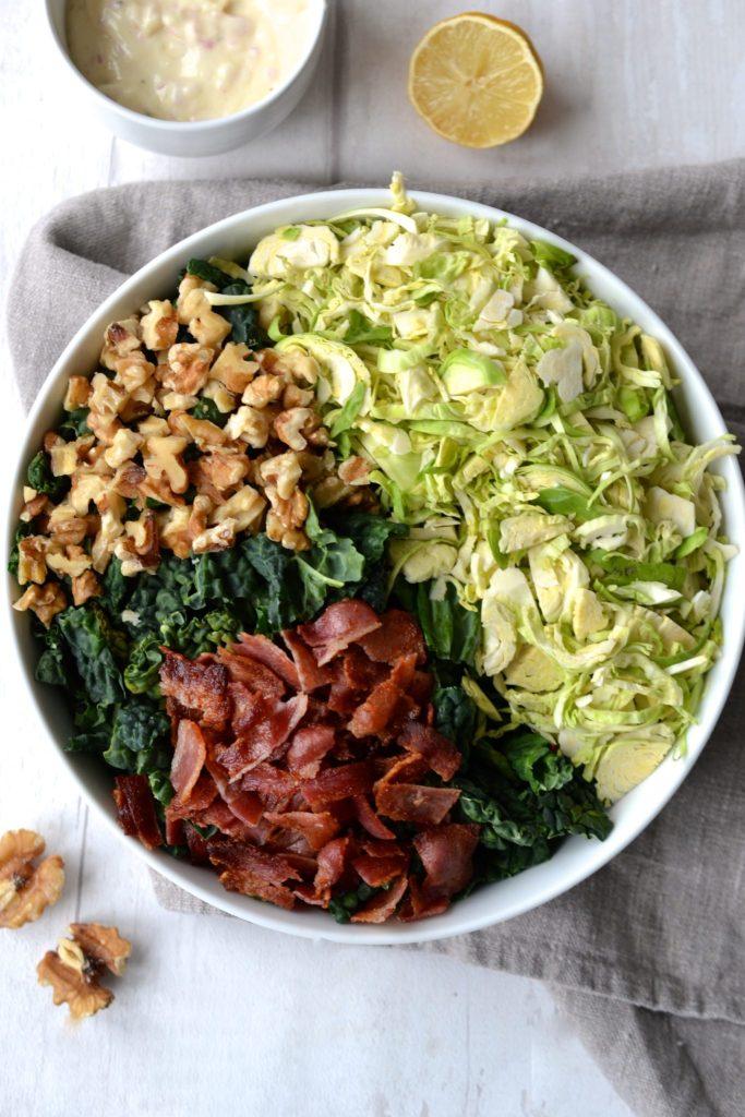 Kale & Brussels Sprout Salad with Lemon Dressing