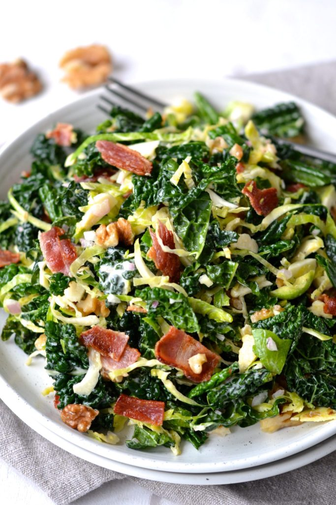 Kale & Brussels Sprout Salad with Creamy Lemon Dressing