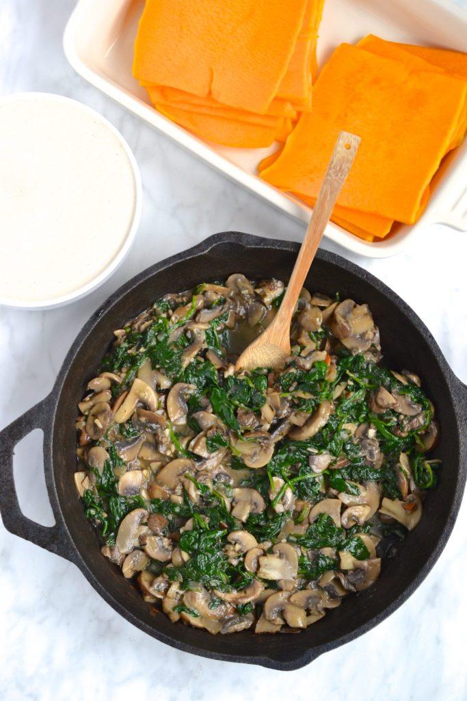 Creamy White Spinach & Mushroom Lasagna