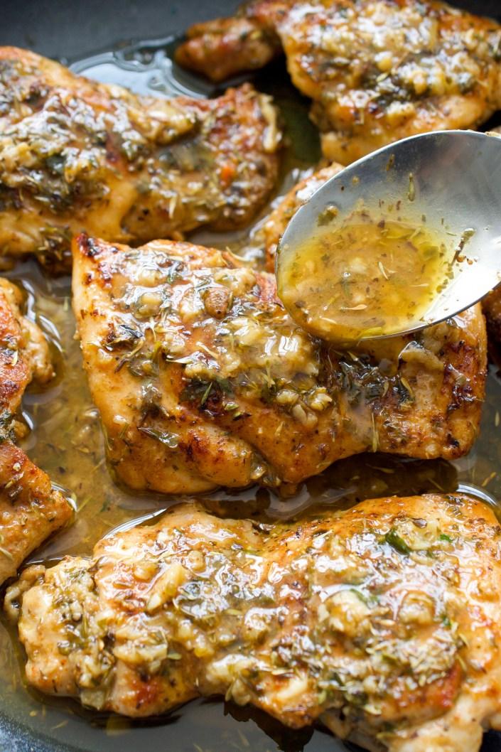 Chicken Thighs with Garlic Herb Sauce