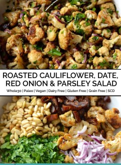 Roasted Cauliflower, Date, Red Onion & Parsley Salad