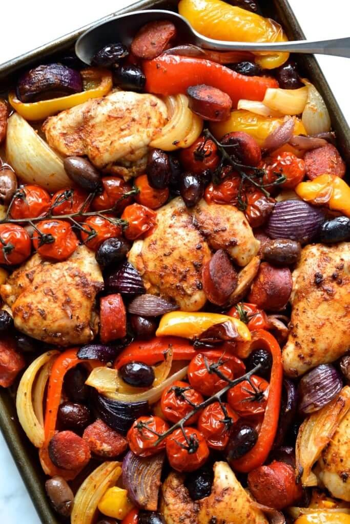 Sheet Pan Spanish Chicken & Chorizo