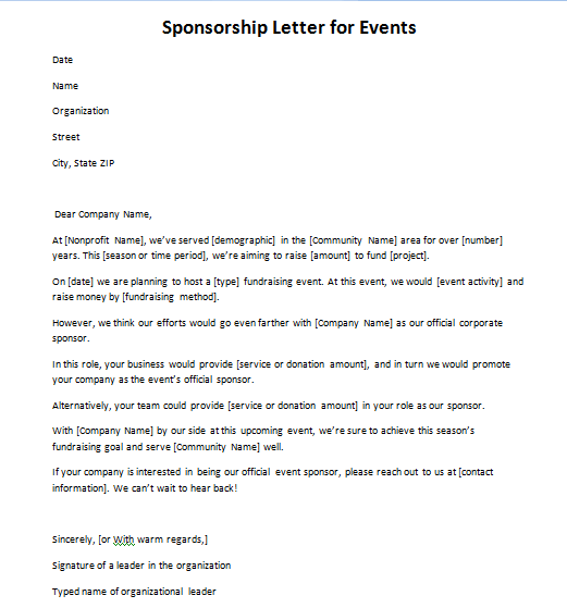 Sponsorship Request For An Event