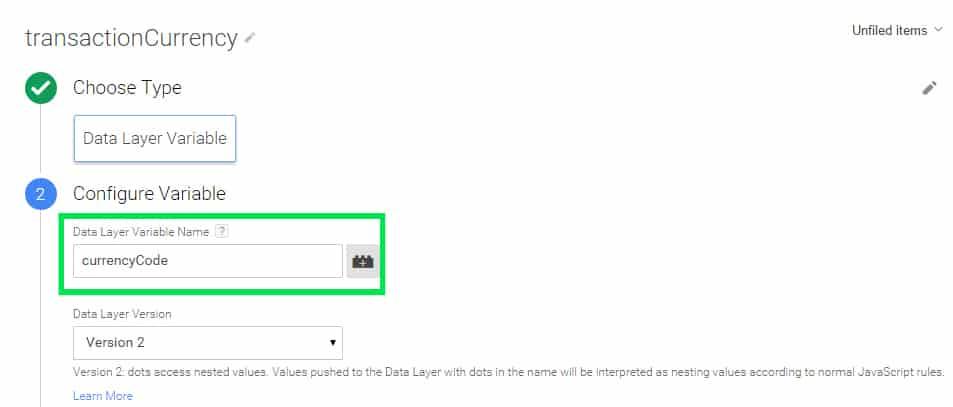 macro transaction Google Tag Manager