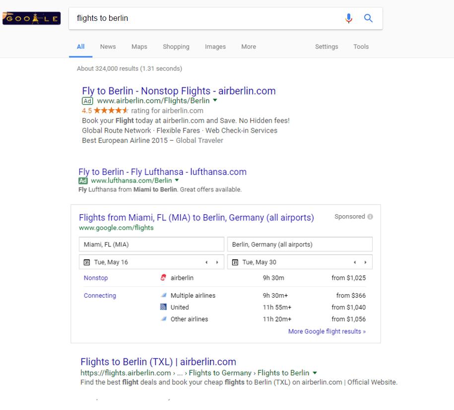 Flights to Berlin Google No Prices