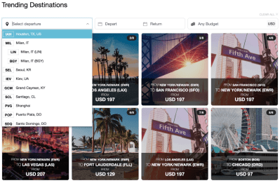 Fares Grid with Images