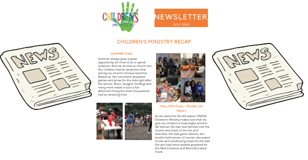 Children's Ministry Newsletter November 2018