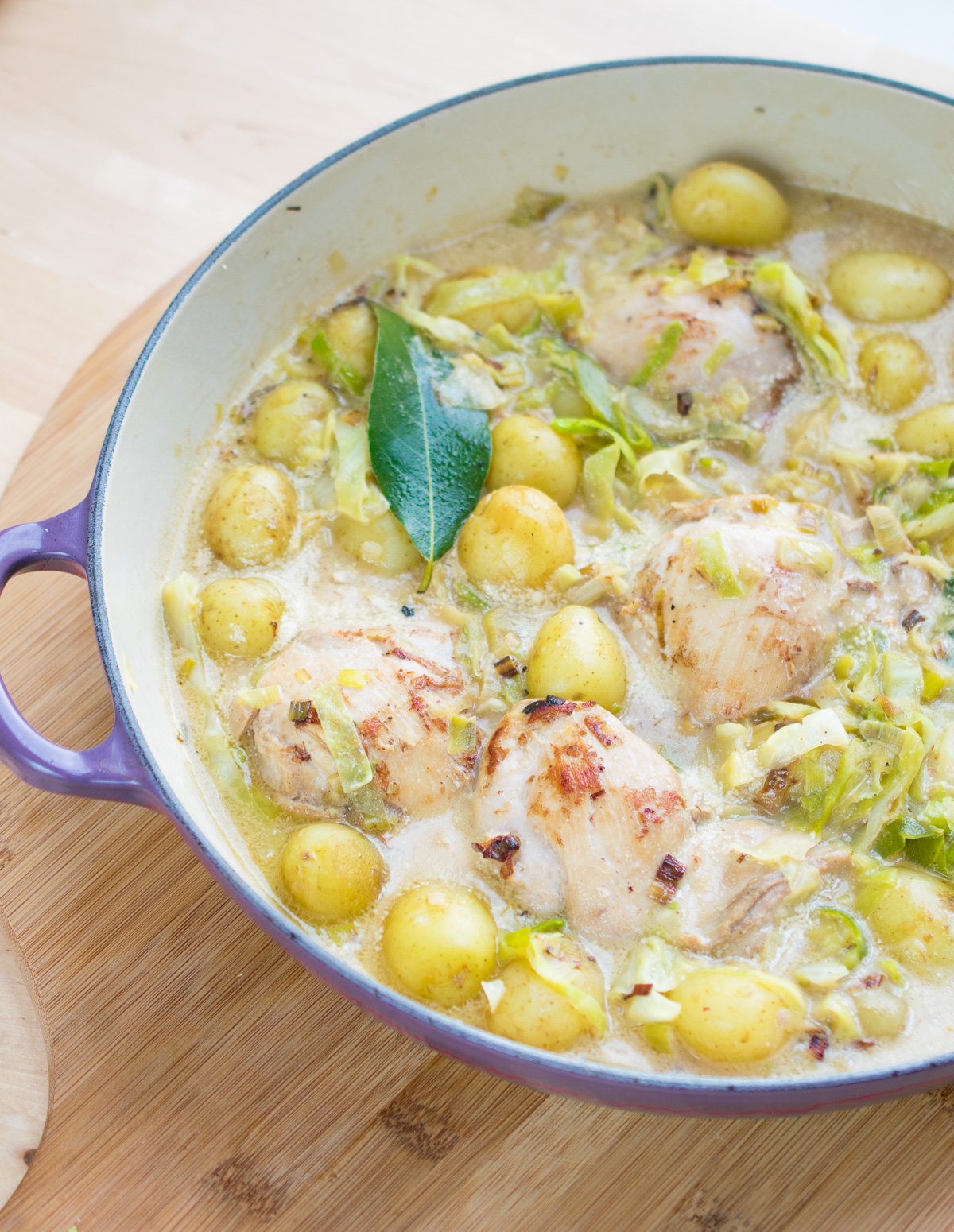 Chicken With Greens, Bay & Potatoes