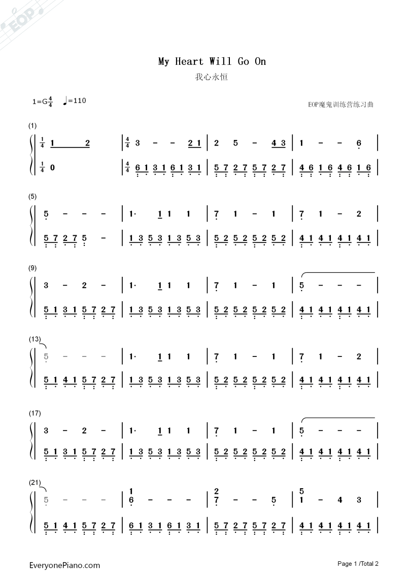 Tag My Heart Will Go On Guitar Tab Without Capo