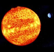 Evidence for God - Photo showing the earth's perfect distance from the sun and its relative size to the sun.