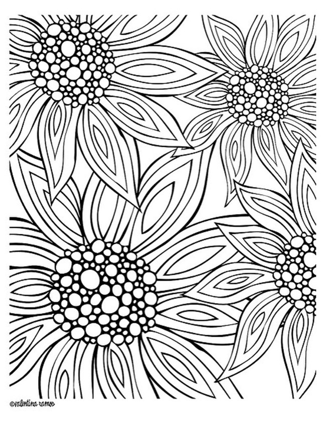 12 Free Printable Adult Coloring Pages for Summer | coloring sheets for adults flowers