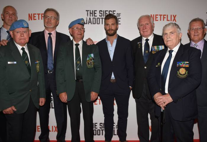Guests attend the Irish Premiere of The Siege of Jadotville at The Savoy, Dublin, Ireland - 19.09.16. Featuring: Jamie Dornan, Irish 35th Battalion Where: Dublin, Ireland When: 19 Sep 2016 Credit: WENN.com **Not available for publication in Ireland**