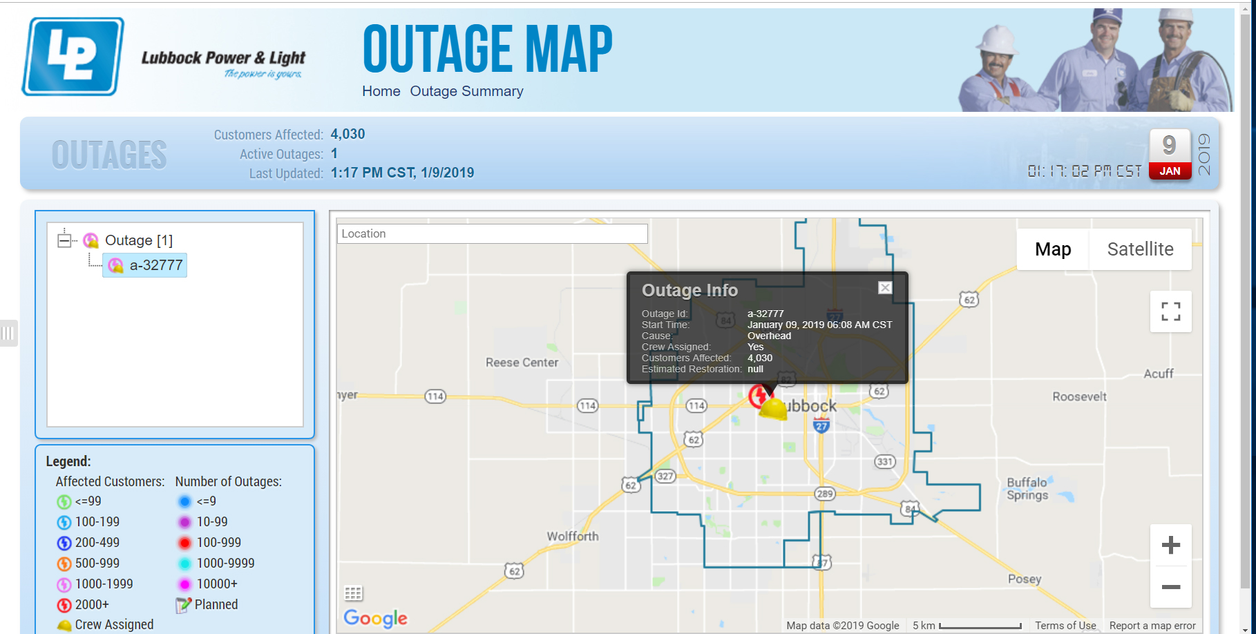 power outage map 190109 screen capture