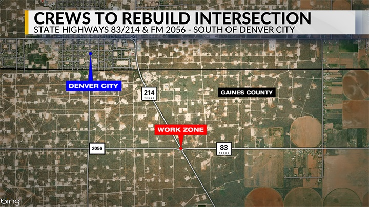 Intersection Construction Near Denver City (March 2019) -