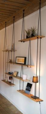 Suspended Rope & Board Shelving