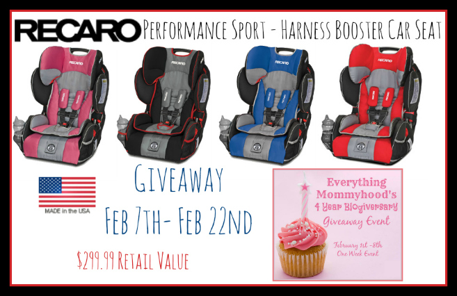 A Chance To Win Recaro Performance Sport Harness Booster Car Seat We Received The In Redd For Our Review